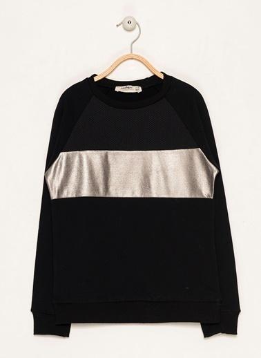 Morhipo Kids File Detaylı Sweatshirt Siyah